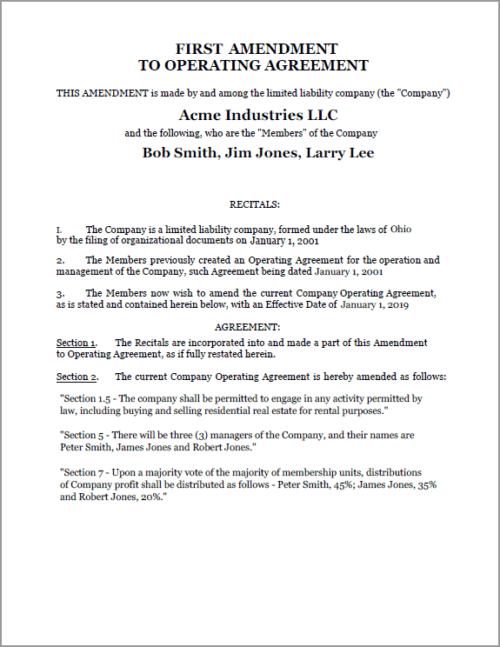 Standard Legal Amendment to LLC document sample