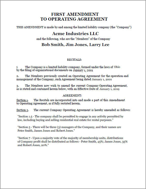 Standard Legal Amendment to LLC document sample