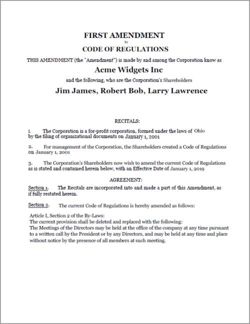 Standard Legal Amendment to Corp document sample
