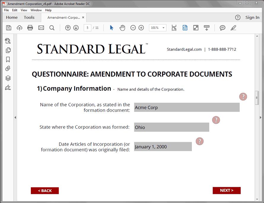 Standard Legal Amendment to Corp Q&A screen2