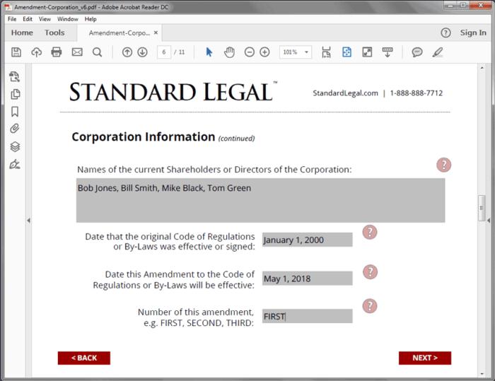 Standard Legal Amendment to Corp Q&A screen1
