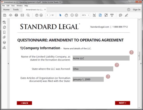 Standard Legal Amendment to LLC Q&A screen2