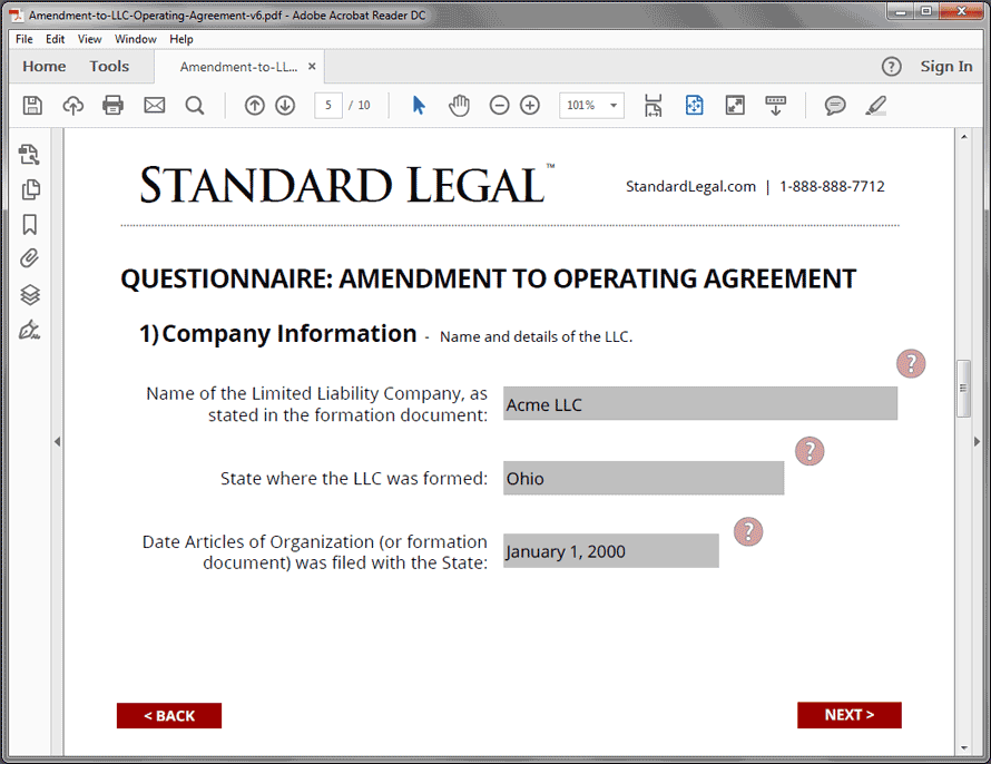 Standard Legal Amendment to LLC Q&A screen2