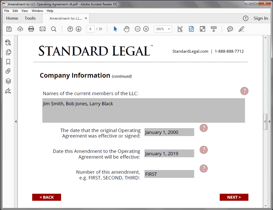 Standard Legal Amendment to LLC Q&A screen1