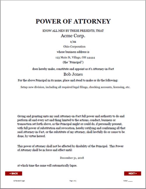Standard Legal Entity POA Document sample