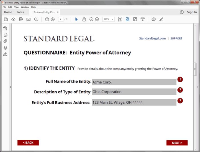 Standard Legal Entity POA Q&A screen 1