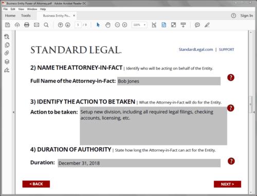 Standard Legal Entity POA Q&A screen 2