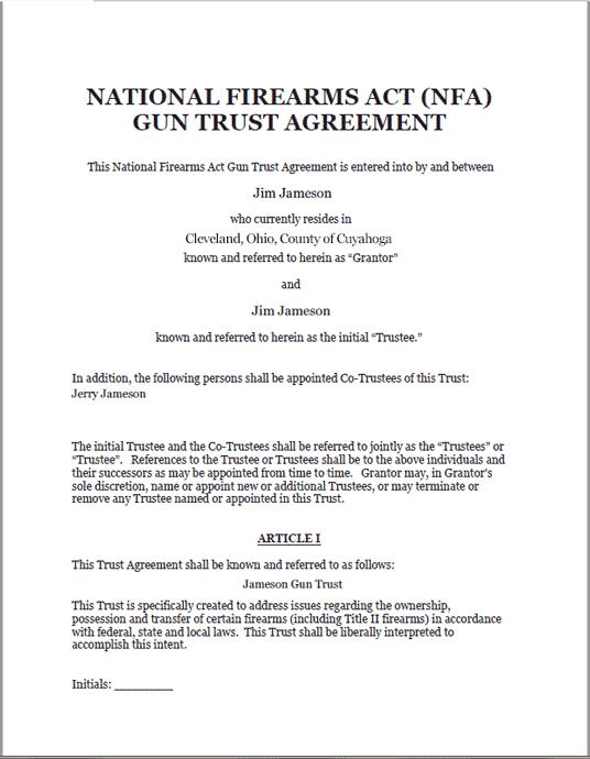 Standard Legal Gun Trust Document