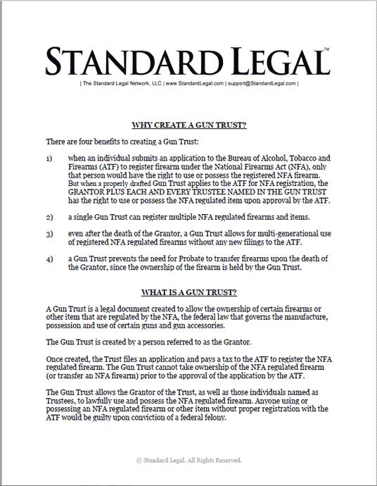 Standard Legal Gun Trust Intro Document