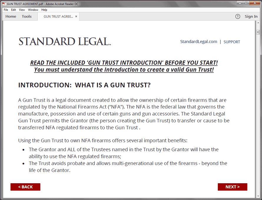 Standard Legal Gun Trust Q&A Intro screen