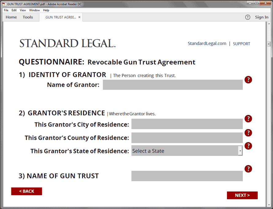 Standard Legal Gun Trust Q&A Grantor screen
