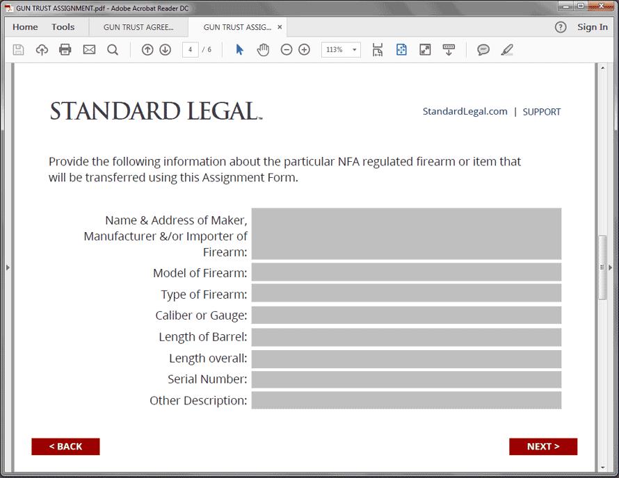 Standard Legal Gun Trust Q&A Firearm screen