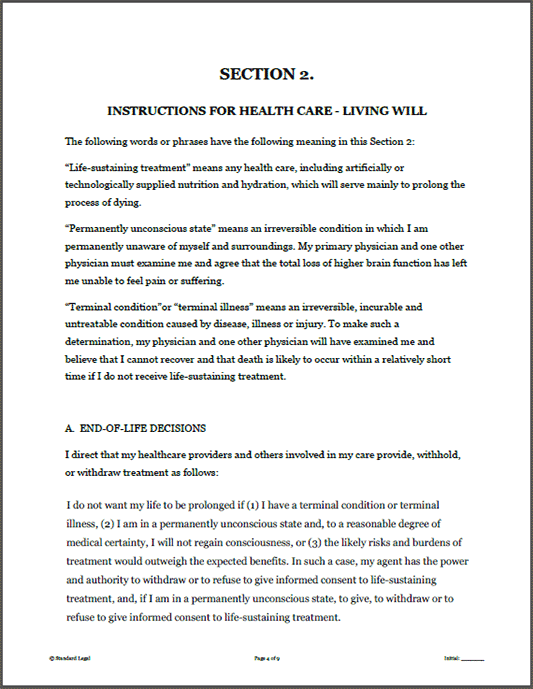 Standard Legal Living Will Sample Page 2