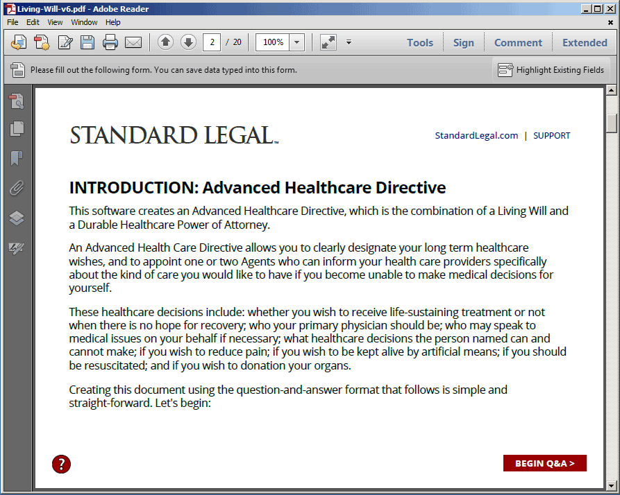 Standard Legal Living Will Q&A Introduction
