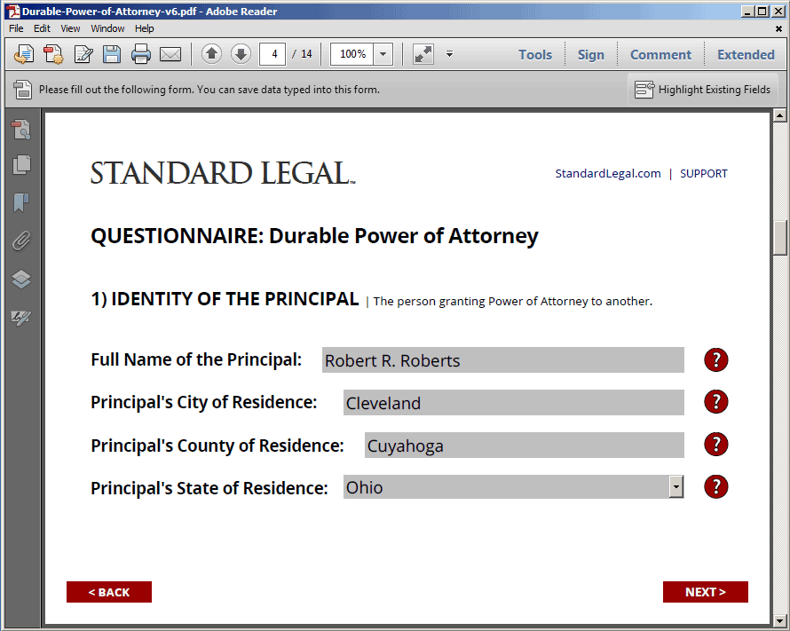 Standard Legal Power of Attorney Q&A form field sample