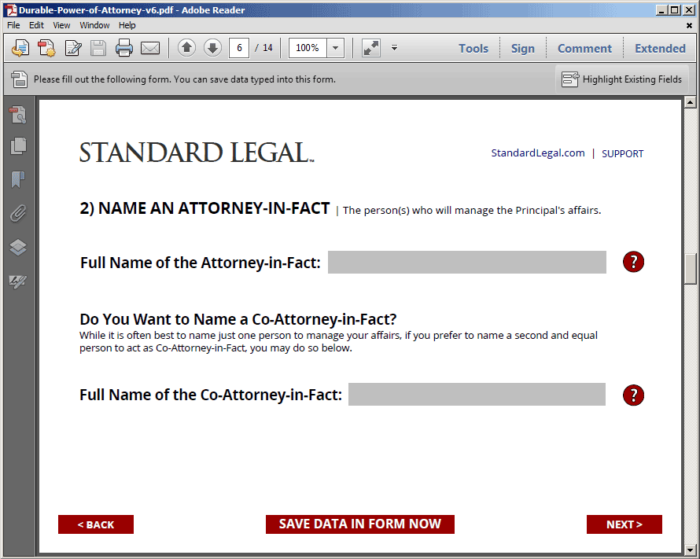 Standard Legal POA Q&A sample