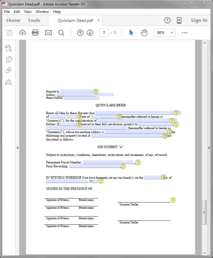 Standard Legal Quitclaim Deed sample
