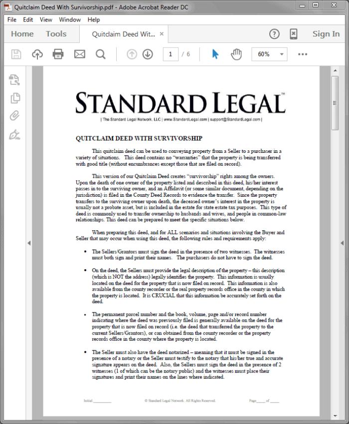 Standard Legal Survivorship Deed Instructions sample
