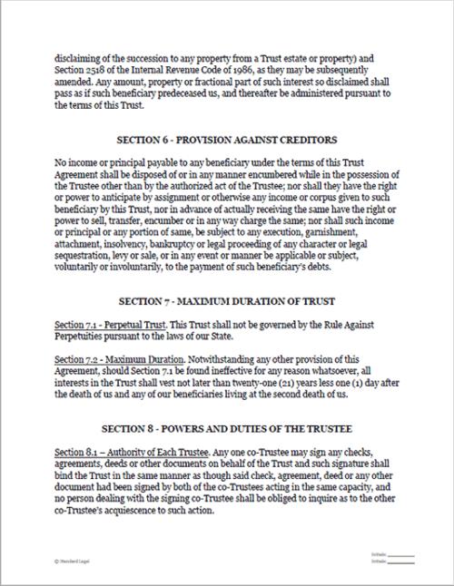 Standard Legal Living Trust sample pg3