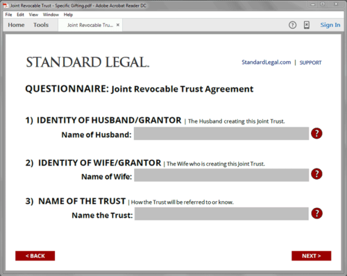 Standard Legal Living Trust Q&A form field sample