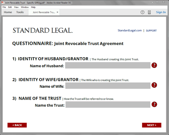 Standard Legal Living Trust Q&A form field sample
