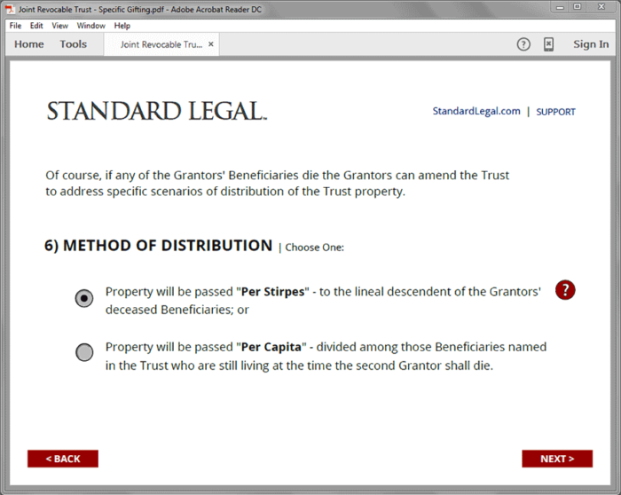Standard Legal Living Trust Q&A selection page sample