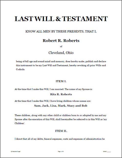 Standard Legal Last Will and Testament page