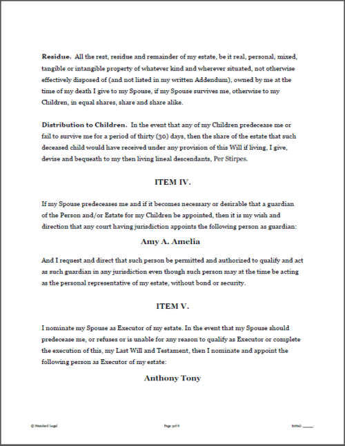 Standard Legal Last Will Sample Page 1