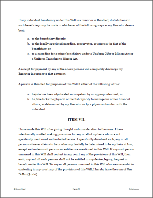 Standard Legal Will Sample Page 2