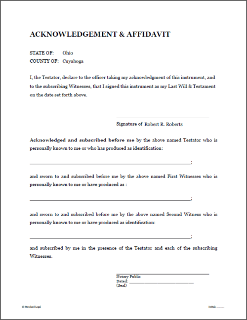 Standard Legal Will Notary Page