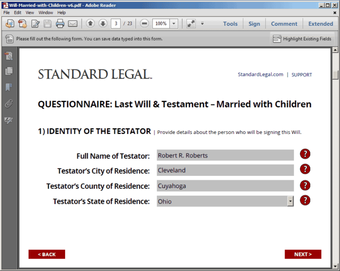 Standard Legal Will Q&A Form Fields