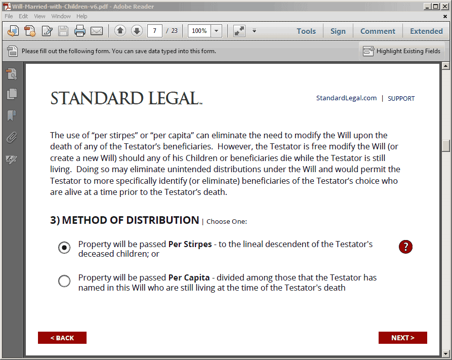 Standard Legal Will Q&A Selection Screen