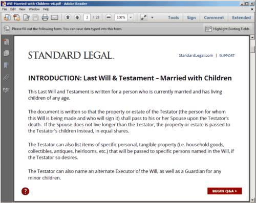 Standard Legal Will Q&A Intro