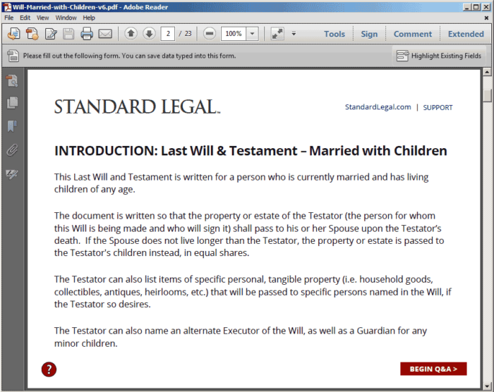 Standard Legal Will Q&A Intro